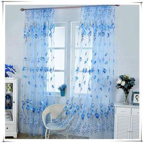 2pcs 1m 2m el gant bleu rideaux voilage motif de tulipe for Voilage porte fenetre salon