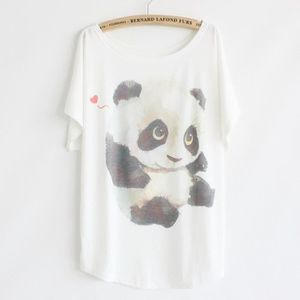 T-SHIRT T shirt Femme Blanc Ample en Coton Manche Chauv...