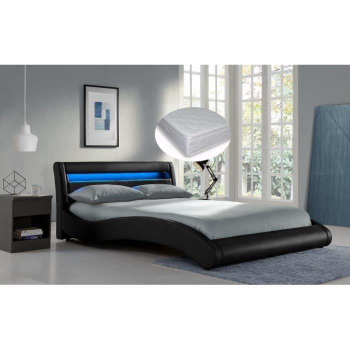 lit black surf noir 140x200 sommier et matelas achat vente lit complet lit black surf noir. Black Bedroom Furniture Sets. Home Design Ideas