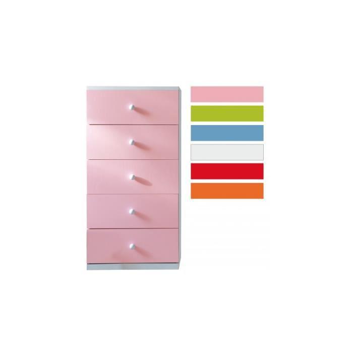 chiffonnier enfant h tre laque rose et blanc 5 tiroirs achat vente chiffonnier semainier. Black Bedroom Furniture Sets. Home Design Ideas