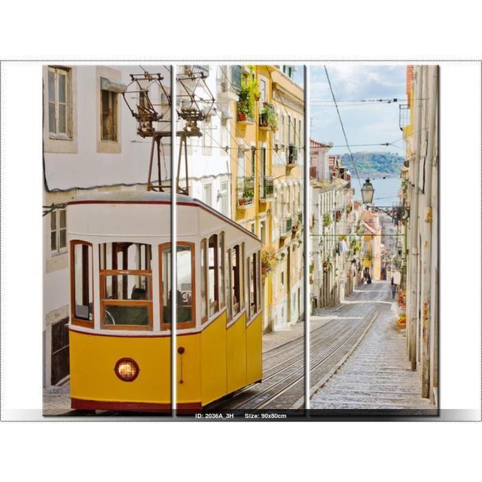 90 x 80cm tramway lisbonne portugal tableau multi for Decoration maison portugal