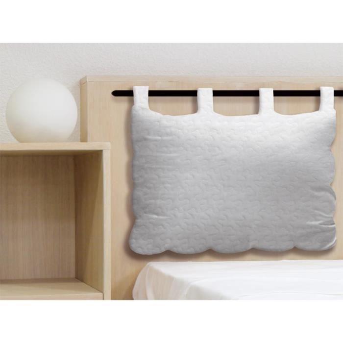 t te de lit en coton 50x70 cm boutis blanc achat vente t te de lit t te de lit en coton. Black Bedroom Furniture Sets. Home Design Ideas