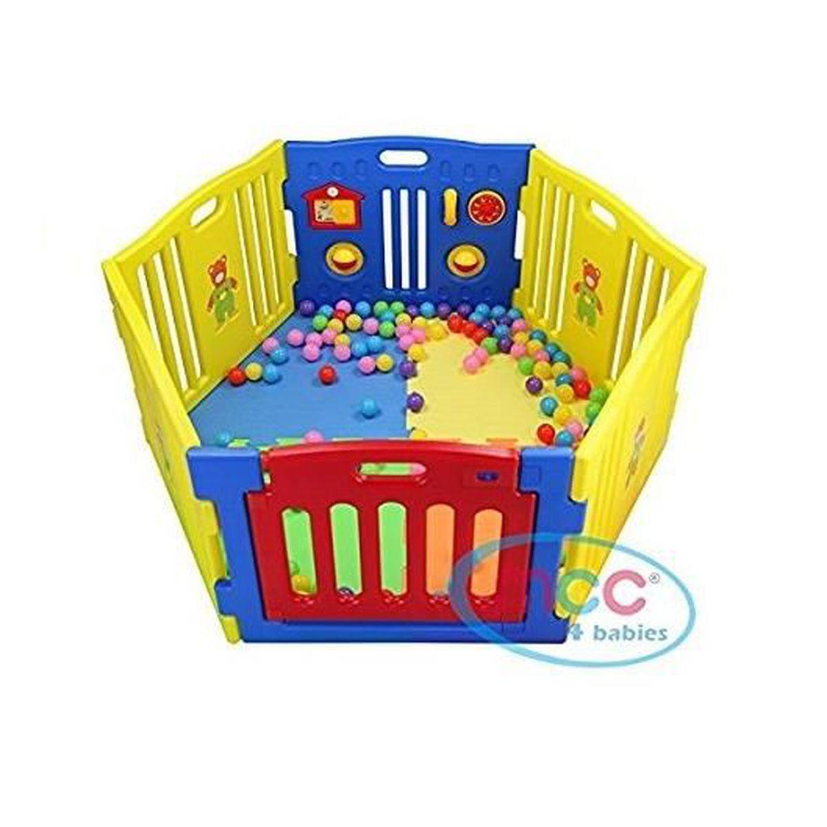 parc pour b b s 6 c t s avec panneau d 39 activit s bleu. Black Bedroom Furniture Sets. Home Design Ideas