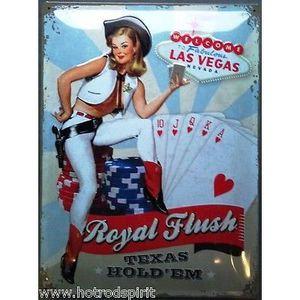 AFFICHE Plaque publicitaire pin up royal flush las vegas 4