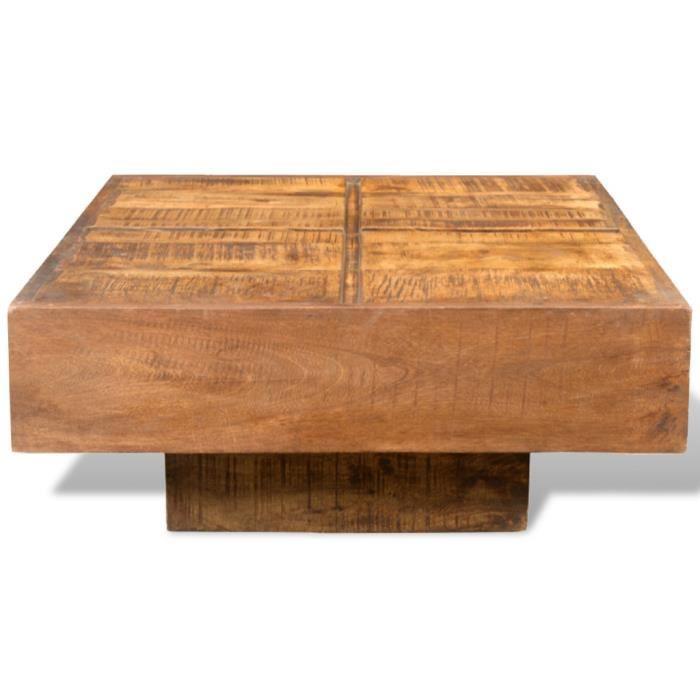 Table de salon brune carr e en bois de mangue en style achat vente table - Table de salon carree en bois ...
