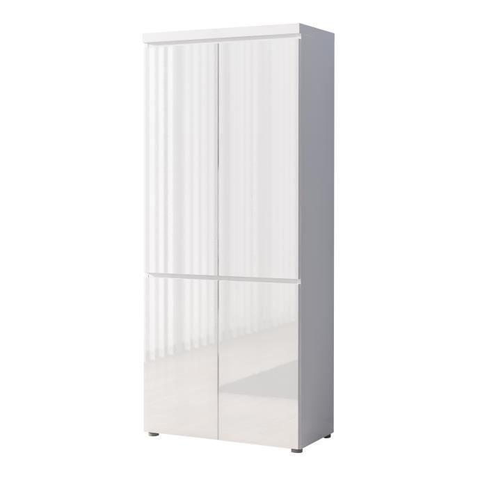 Meuble de rangement 4 portes coloris blanc laqu achat vente petit meub - Cube de rangement blanc laque ...