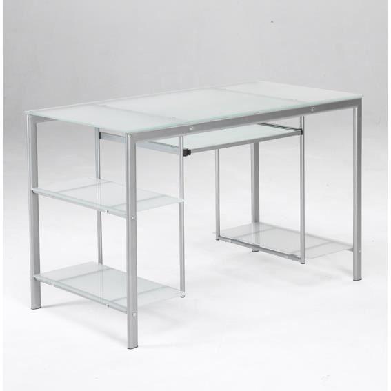 Bureau en verre et acier rangement pratique pour le for Meuble bureau verre acier
