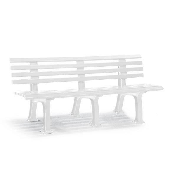 banc d 39 ext rieur en plastique 9 lames largeur 2000 mm blanc banc banc d 39 ext rieur banc en. Black Bedroom Furniture Sets. Home Design Ideas