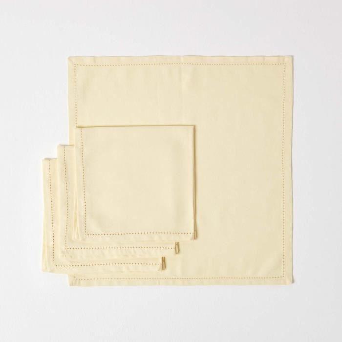 lot de 4 serviettes de table 100 coton cr me achat vente serviette de table cdiscount. Black Bedroom Furniture Sets. Home Design Ideas