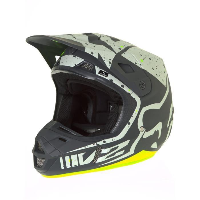 casque motocross fox 2017 v2 nirv gris jaune achat vente casque moto scooter casque. Black Bedroom Furniture Sets. Home Design Ideas