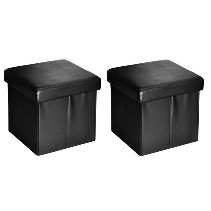 buggy lot de 2 poufs coffres de rangement 38x37x38 cm noir. Black Bedroom Furniture Sets. Home Design Ideas