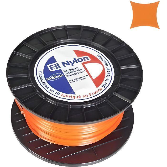 fil d broussailleuse carr nylon orange 4 mm x 50 m bobine achat vente d broussailleuse. Black Bedroom Furniture Sets. Home Design Ideas