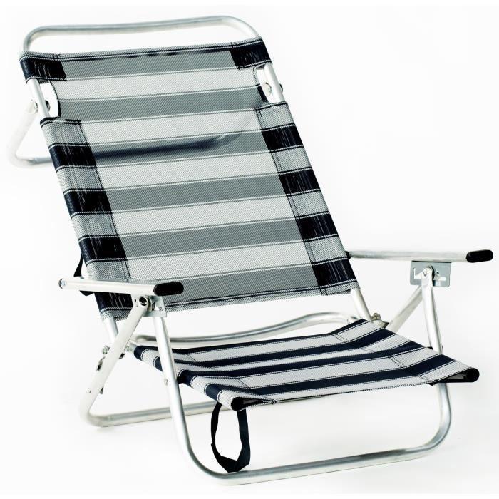 Hevea fauteuil de plage pliable alu bleu achat for Chaise longue plage pliable