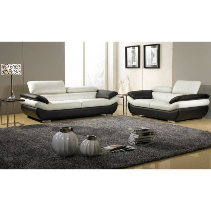 Salon 3 2 places cuir blanc et noir rosy achat vente - Salon cuir noir et blanc ...