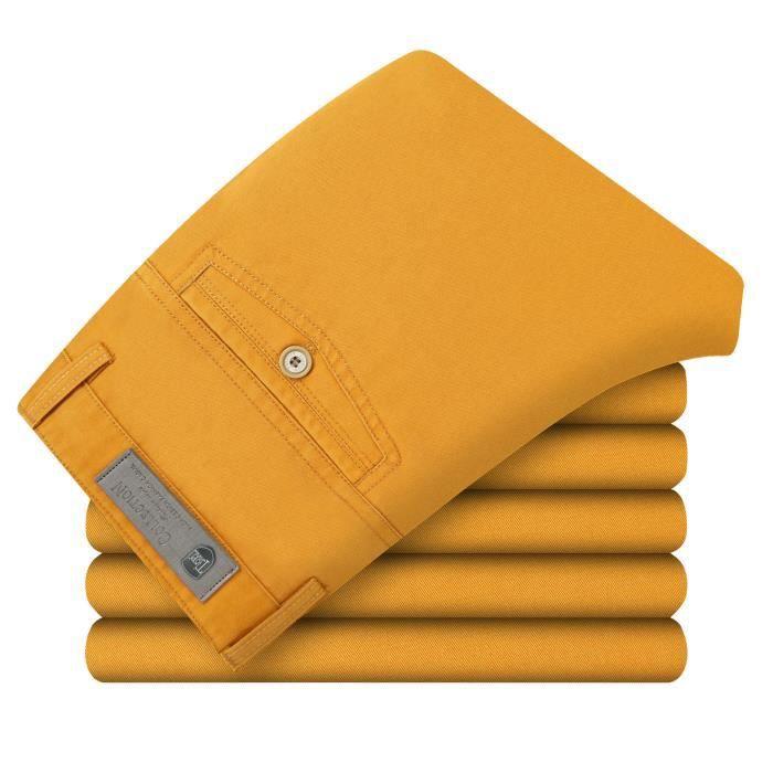 pantalon homme coton slim fit l 39 t l ger respi orange. Black Bedroom Furniture Sets. Home Design Ideas