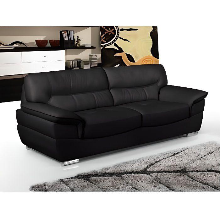 Canap 3 places en cuir thibault noir achat vente canap sofa divan cdiscount - Canape 3 places cdiscount ...