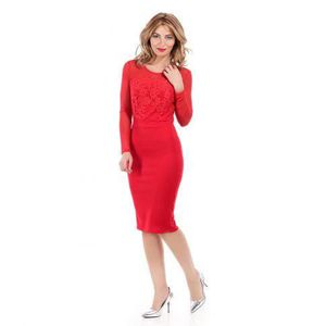 ROBE Robe manches longues effet bustier rouge
