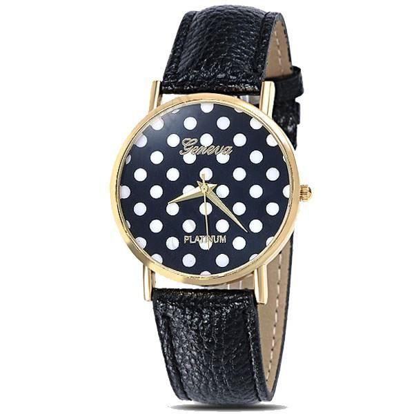 montre femme fantaisie noire pois blancs bracelet cuir achat vente montre montre femme. Black Bedroom Furniture Sets. Home Design Ideas