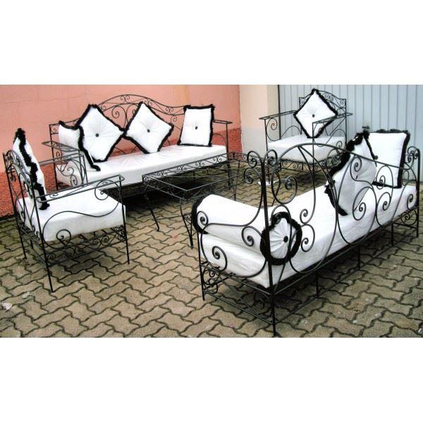 salon marocain complet blanc en fer forg et ve achat vente salon de jardin salon marocain. Black Bedroom Furniture Sets. Home Design Ideas