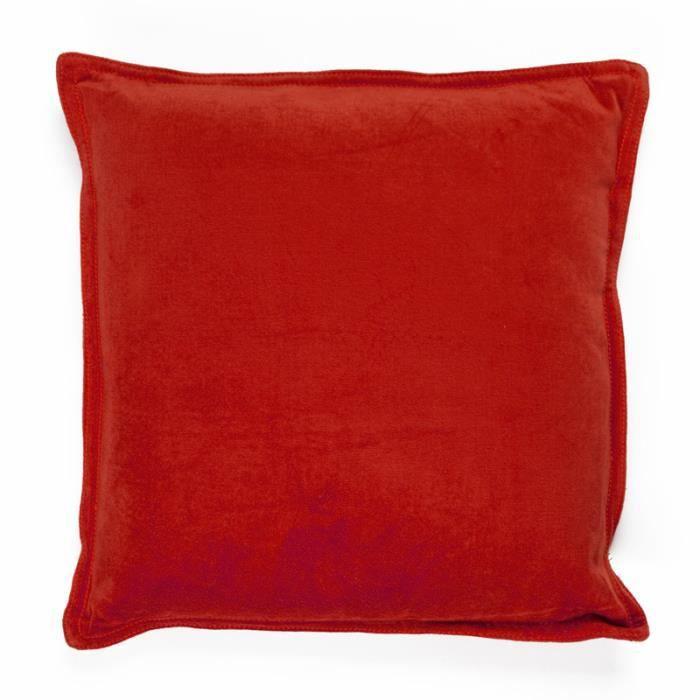 Coussin arthur velours de coton 40x40cm rouge achat vente coussin cad - Coussin velours rouge ...