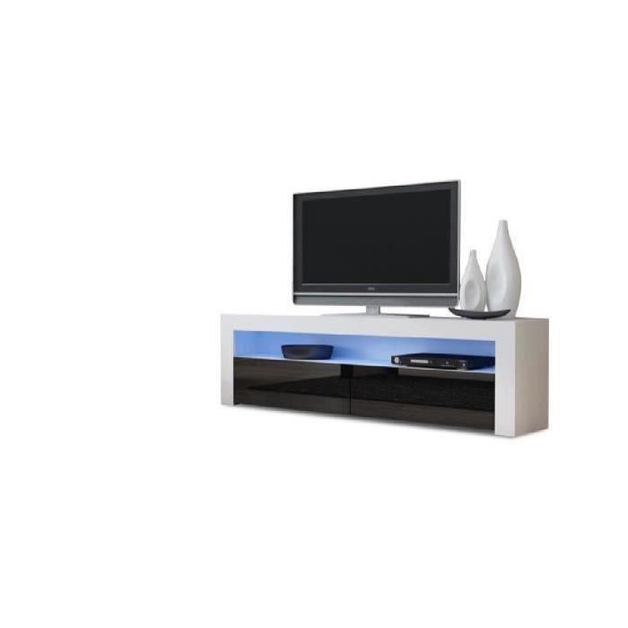 Meuble tv design 157 cm blanc et noir avec clairage led for Meuble salon blanc et noir
