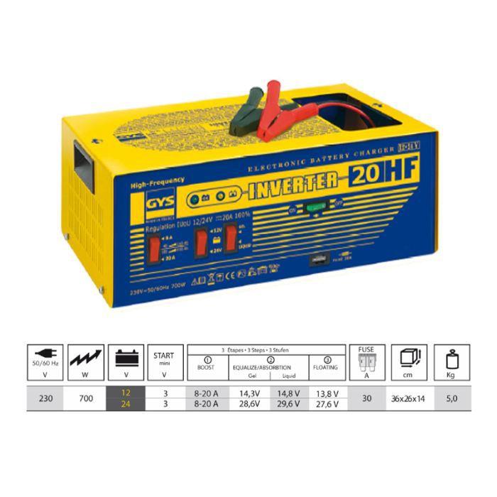 chargeur electronique inverter 20 a hf gys 029217 achat vente chargeur de batterie gys. Black Bedroom Furniture Sets. Home Design Ideas