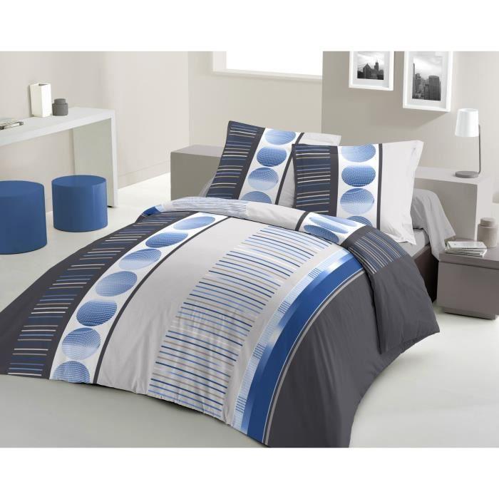 housse de couette neptune 240x260cm bleu achat vente housse de couette cdiscount. Black Bedroom Furniture Sets. Home Design Ideas