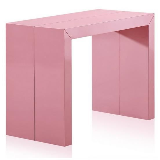 Table console extensible xl laqu e rose charly achat vente table a manger seule table - Console extensible occasion ...