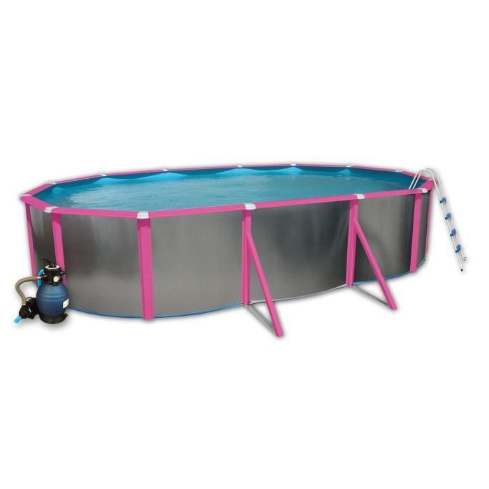 Silver fuchsia piscine en acier ovale 640x366x120 achat for Piscine graphite ovale