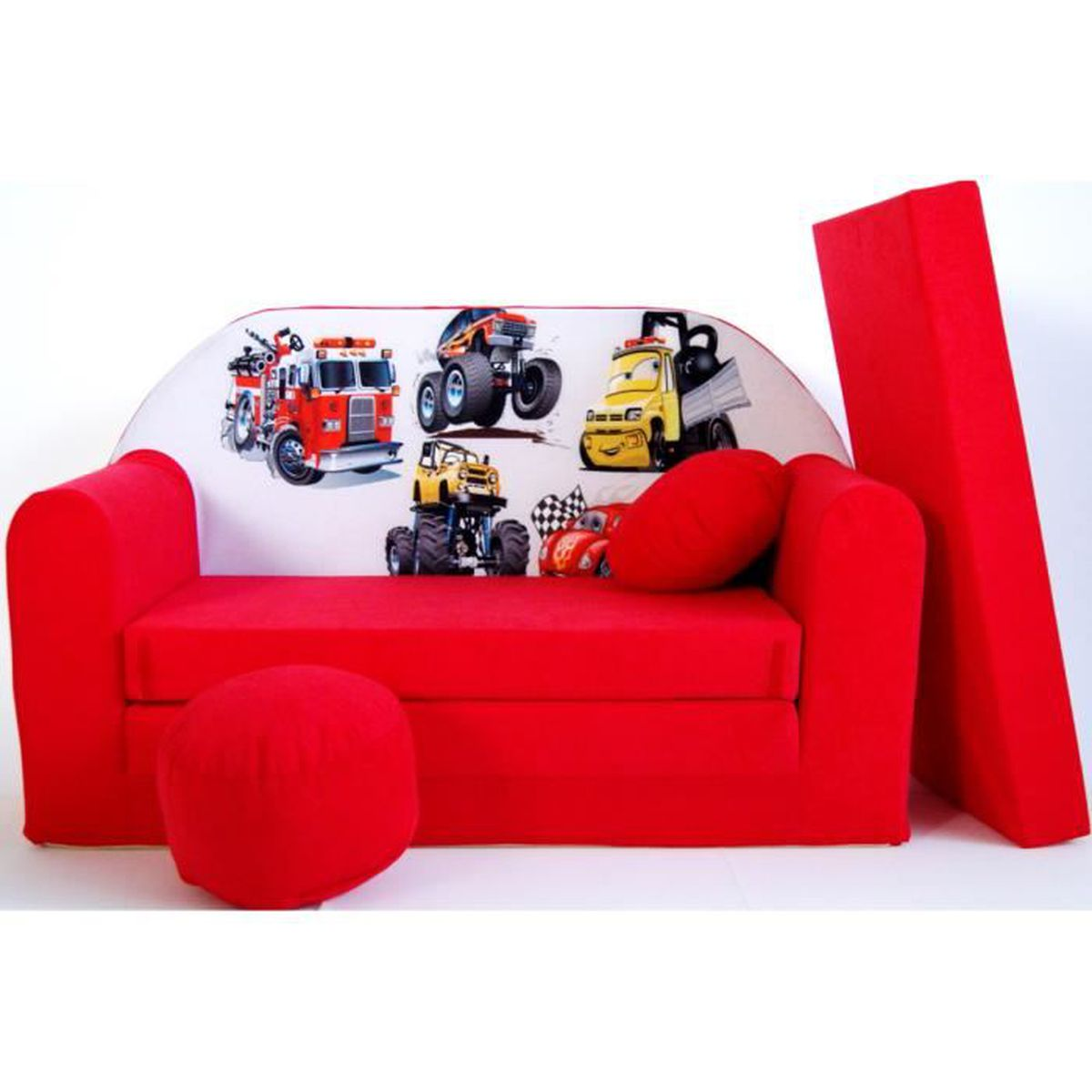 canape sofa enfant 2 places convertible voitures rouge achat vente fauteuil canap b b. Black Bedroom Furniture Sets. Home Design Ideas
