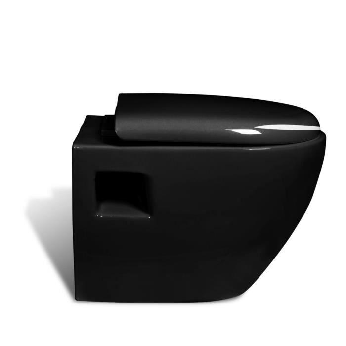 Magnifique cuvette wc suspendue noir avec abattant 52 x 35 for Cuvette wc avec douchette