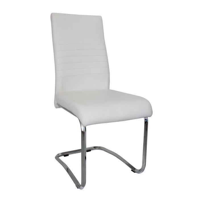 Chaises simili cuir blanc maison design for Chaise cuir blanc conforama
