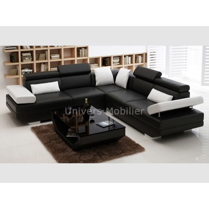 Canap d 39 angle table de salon assortie plazza achat for Canape d angle 8 places
