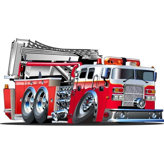 sticker enfant camion de pompier 3552 dimension achat vente stickers vinyl cdiscount. Black Bedroom Furniture Sets. Home Design Ideas