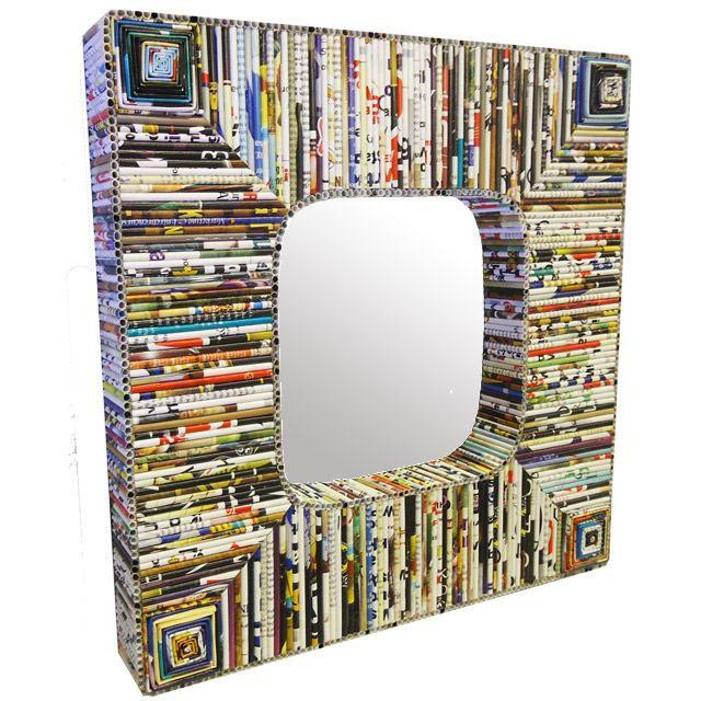 Miroir en magazine recycl carr 40x40 cm achat vente for Miroir 40x40