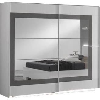 Armoire coulissante pour chambre adulte blanc et gris for Armoire de chambre adulte