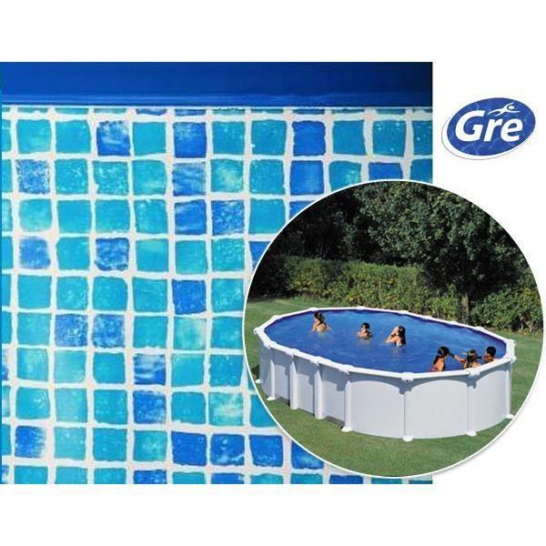 Liner imitation mosa que pour piscine hors sol ovale de for Liner piscine diametre 3 50