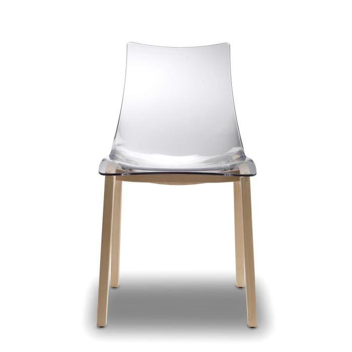 2x chaises transparentes design avec pieds bois achat vente chaise polycarbonate h tre. Black Bedroom Furniture Sets. Home Design Ideas
