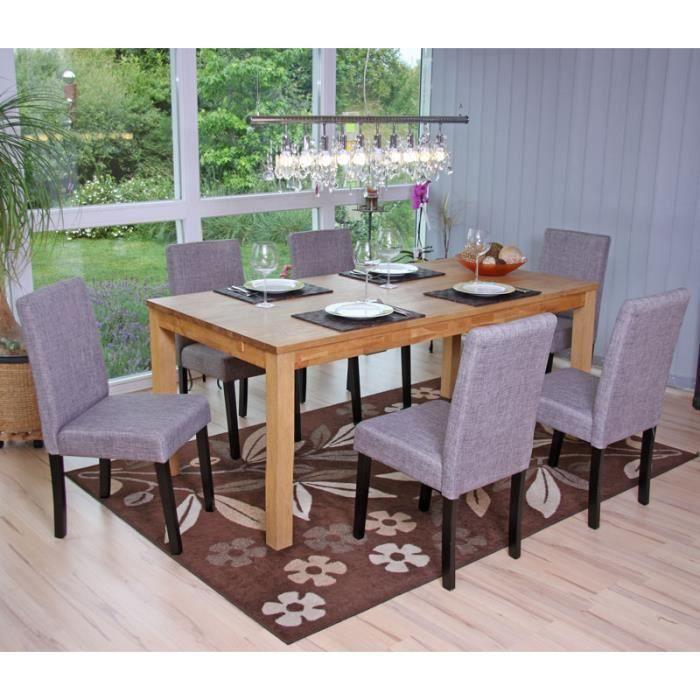 Lot de 6 chaises salle a manger salon tissu gris achat for Lot de 6 chaises salle a manger