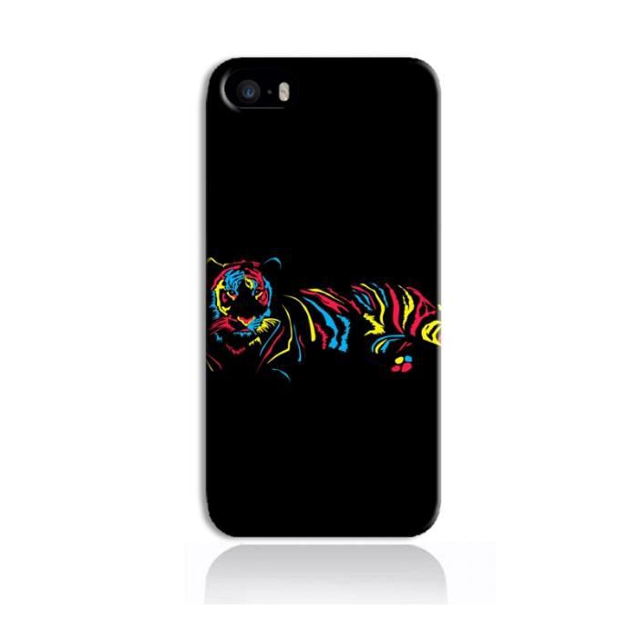 coque iphone 5 5s tigre multicolore achat coque bumper pas cher avis et meilleur prix. Black Bedroom Furniture Sets. Home Design Ideas