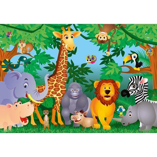 Poster mural g ant animaux de la jungle 366 x achat vente affiche cdiscount - Jeux des as de la jungle ...
