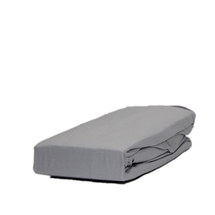 Drap housse 100x200cm 100 coton gris clair achat for Drap housse 100 x 200