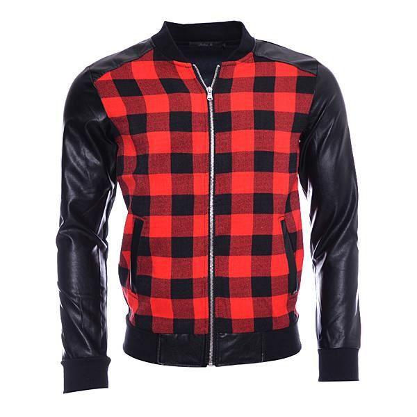 veste homme jh noir carreaux rouge noir achat vente