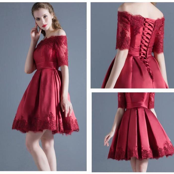 robe de soir e en satin robe de cocktail robe courte sans bretelles emilie vogue rouge achat. Black Bedroom Furniture Sets. Home Design Ideas