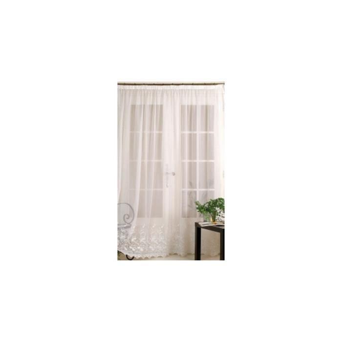 rideau en voile avec base brod e 240 x 240 cm achat. Black Bedroom Furniture Sets. Home Design Ideas
