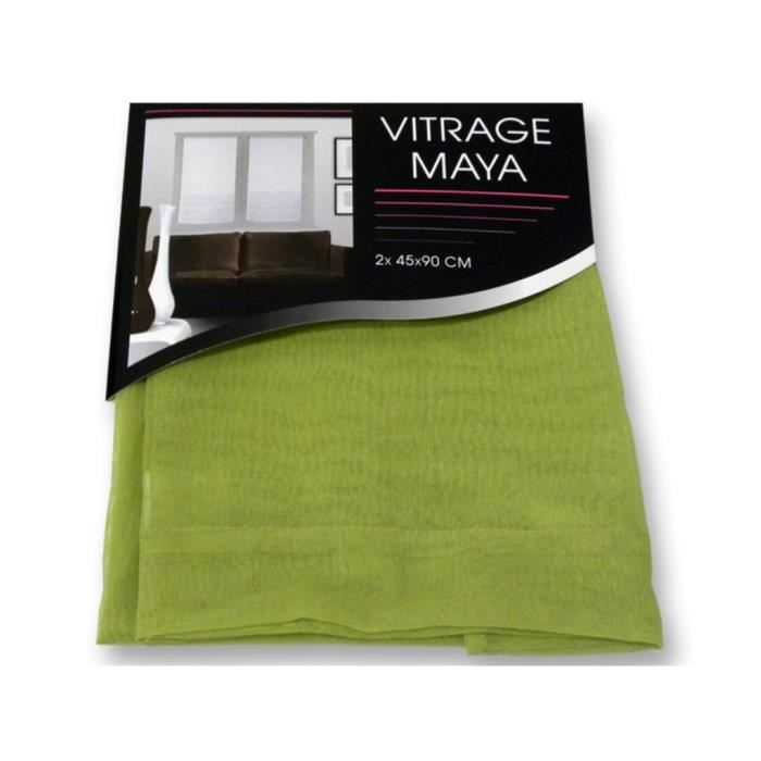 paire de vitrage maya vert 45x90 cm achat vente rideau 100 polyester cdiscount. Black Bedroom Furniture Sets. Home Design Ideas