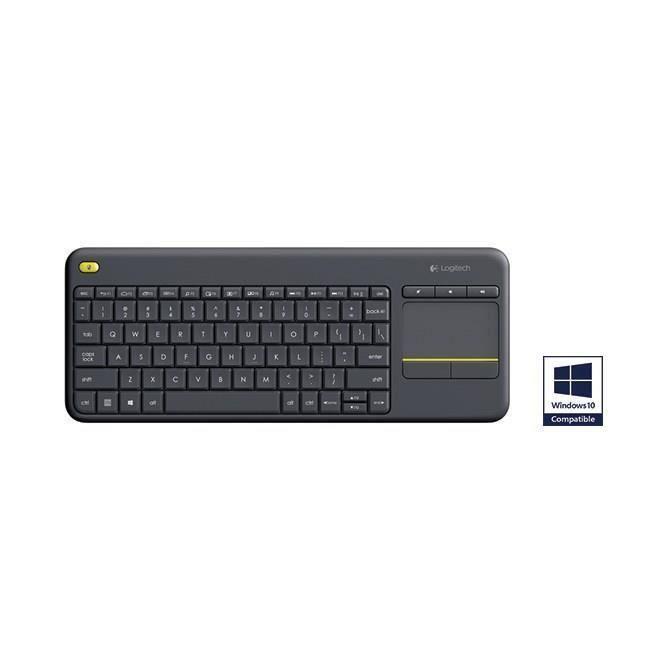 destockage logitech k400 plus clavier azerty sans fil avec touchpad noir clavier d. Black Bedroom Furniture Sets. Home Design Ideas
