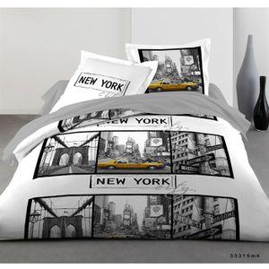 parure housse 220x240 2 taies new york blanc achat vente housse de couette soldes d t. Black Bedroom Furniture Sets. Home Design Ideas
