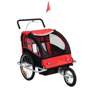 REMORQUE VÉLO Remorque de vélo pour 2 enfants 2 en1 rouge Jogger