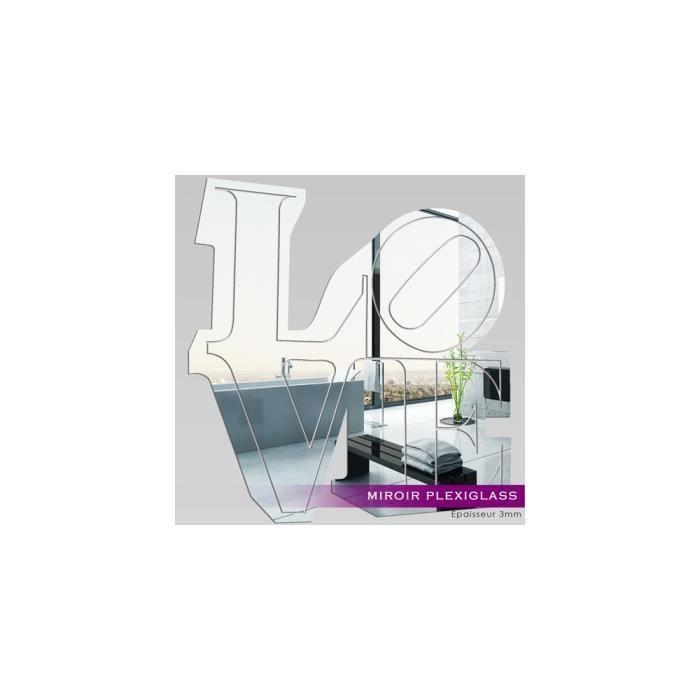 Miroir plexiglass acrylique love 1 ref mir 180 achat for Miroir qui s accroche a la porte